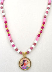 One of the Sacagawea Painted Necklaces Which We Sell- Click Link Lower Left.